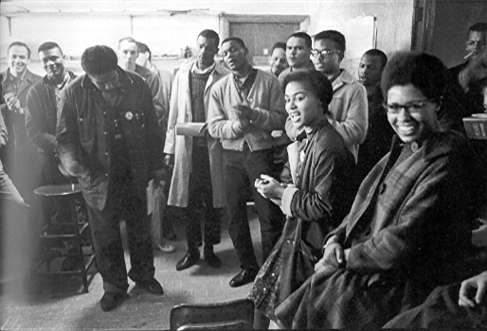 Atlanta SNCC Office Meeting in Danny Lyon, Memories of the Civil Rights Movement (Chapel Hill, NC: University of North Carolina Press, 1992)