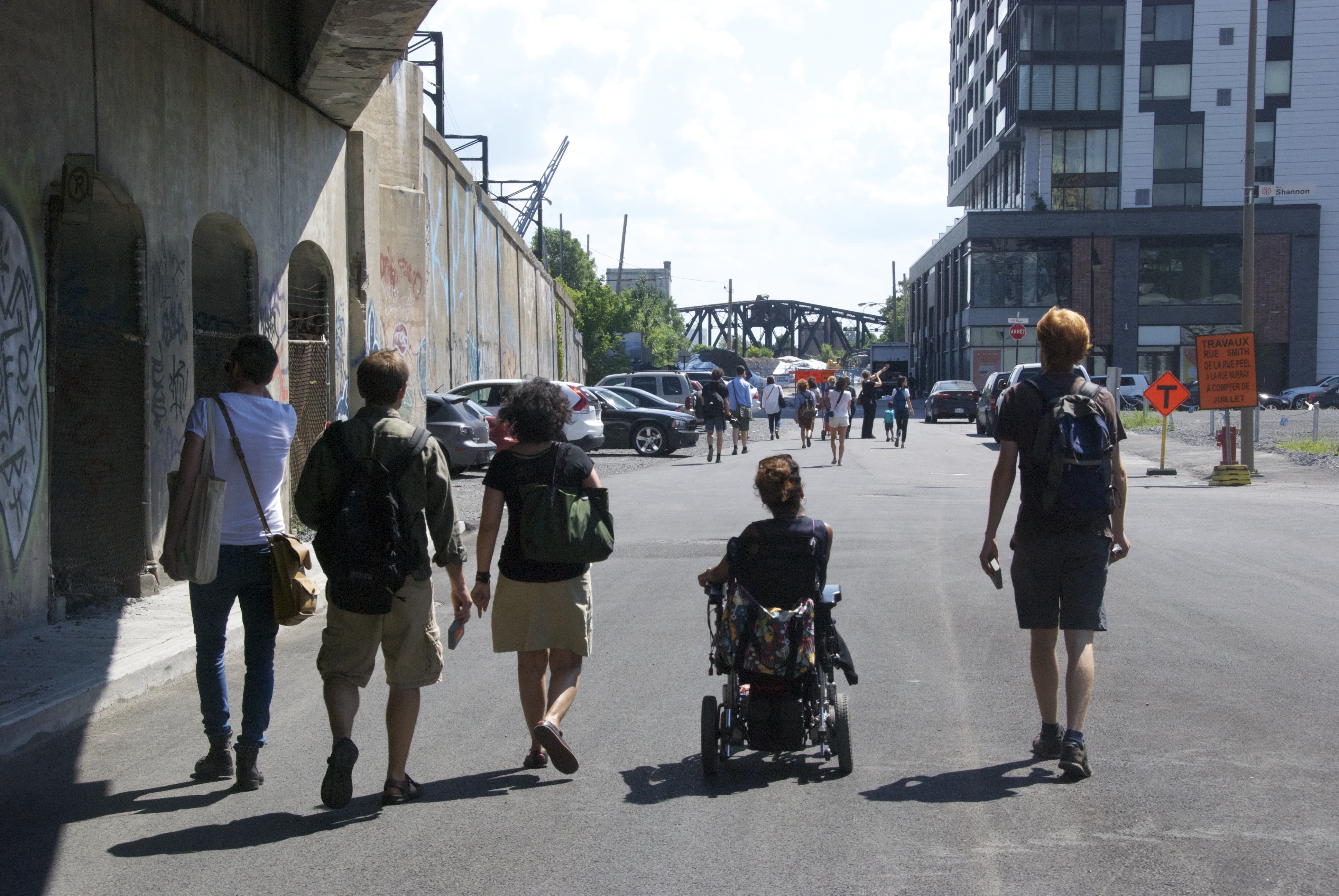 [Image 15 - Participants traversing Griffintown during the Spatial justice urban lab, 26 July 2014. Photo: C.Bédard]