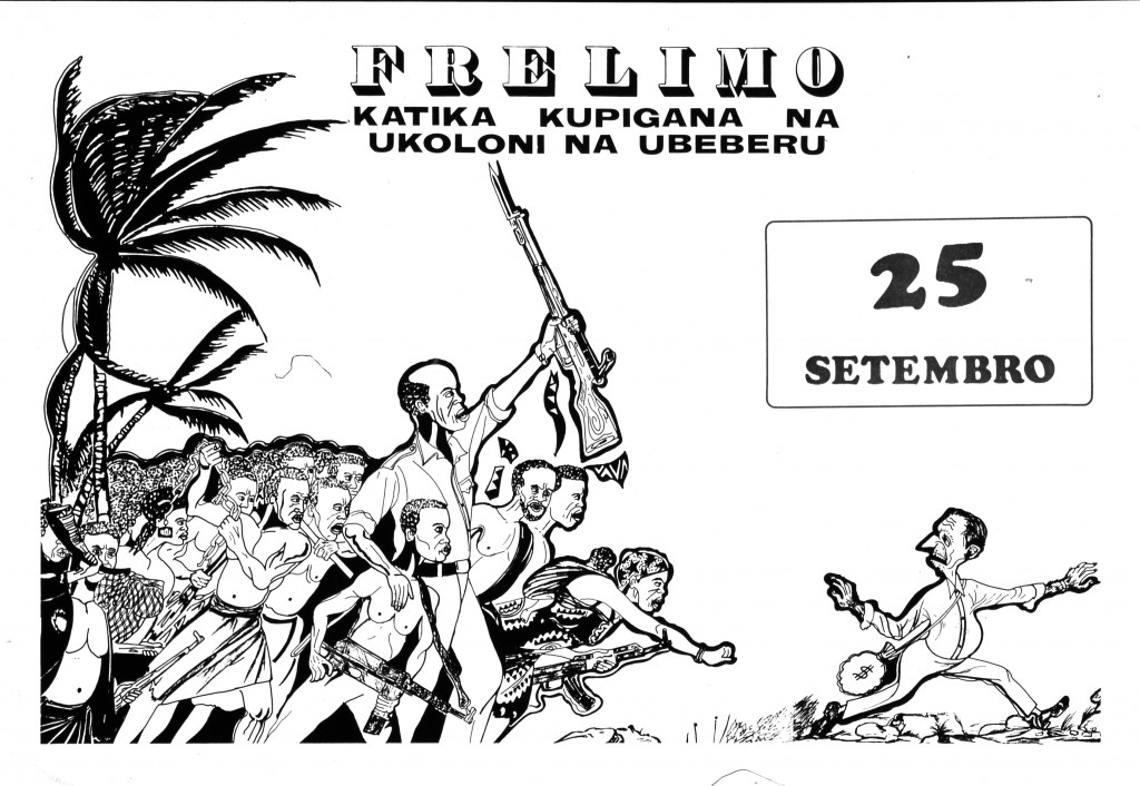 [Image 3. A poster entitled FRELIMO: KATIKA KUPIGANA NA UKOLONI NA UBEBERU … 25 SETEMBRO (1975?) likely produced in Tanzania. Image courtesy Hoover Institution Political Poster Collection, Stanford University]