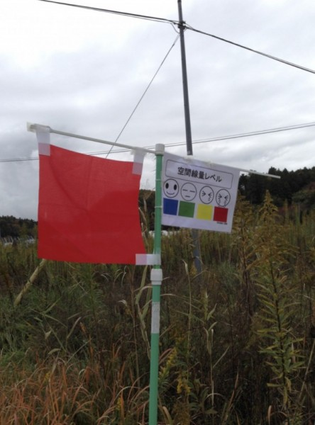 [Image 6. A sign indicating the level of radioactivity placed by the local community, November 10, 2015.]
