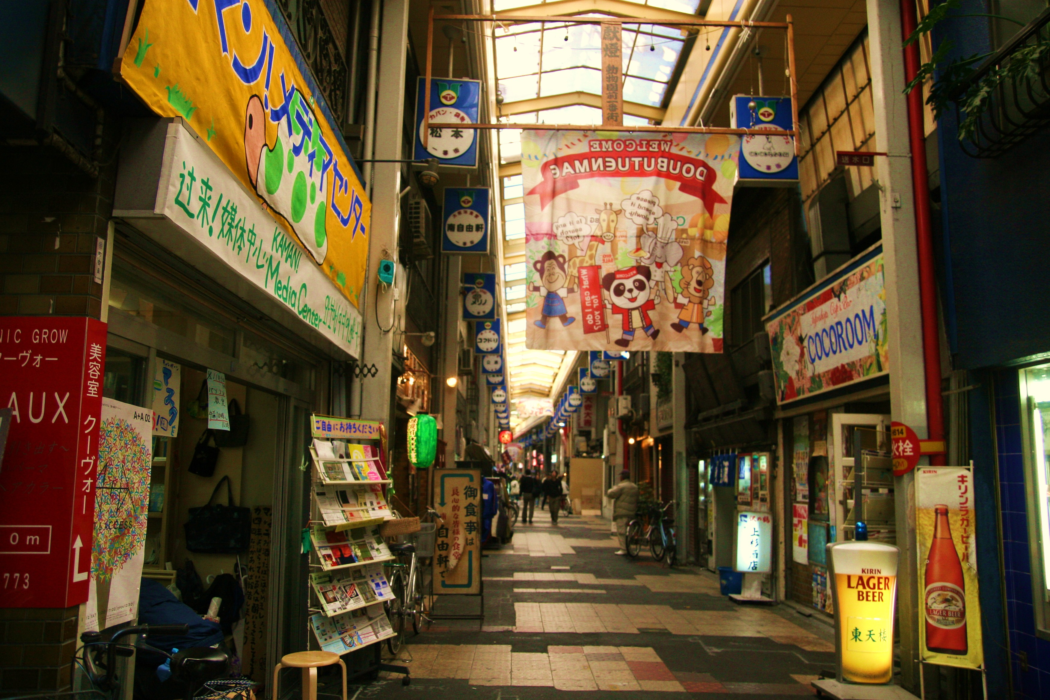 [Figure 4: The Nishinari Ward shopping street where we moved the café in 2008]